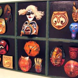 Mounted Masks in a Frame